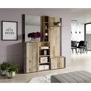 Garderobe Barry - Anthrazit/Naturfarben, Basics, Holzwerkstoff (150/190/32cm)