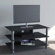TV-Regal Netasa B: 95 cm Schwarz, Silber - Silberfarben/Schwarz, KONVENTIONELL, Glas/Metall (95/45/42cm) - Livetastic