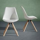 Židle Ricky - bílá, Moderní, kov/dřevo (47,4/82/42,2cm) - Modern Living