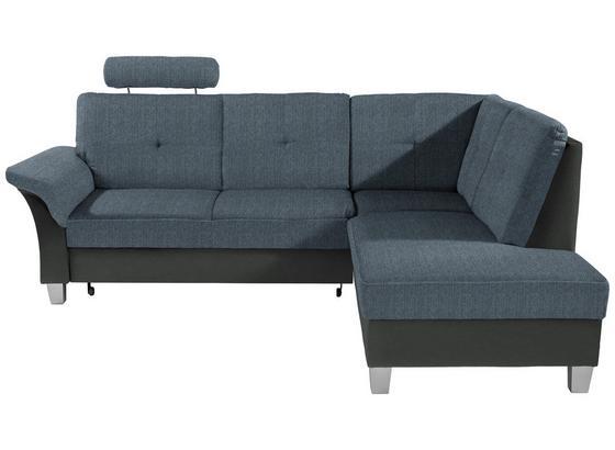 Ecksofa mit Schlaffunktion + Bettkasten Portland, Webstoff - Blau/Dunkelgrau, KONVENTIONELL, Holz/Holzwerkstoff (245/196cm) - Ombra