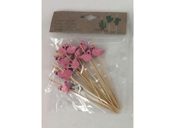 Koktejlové Paličky Flamingo - pink, drevo (12/16cm)