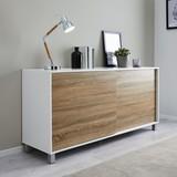 Komoda Tanja - bílá/barvy dubu, Moderní, dřevo/umělá hmota (146/70/40cm) - Modern Living