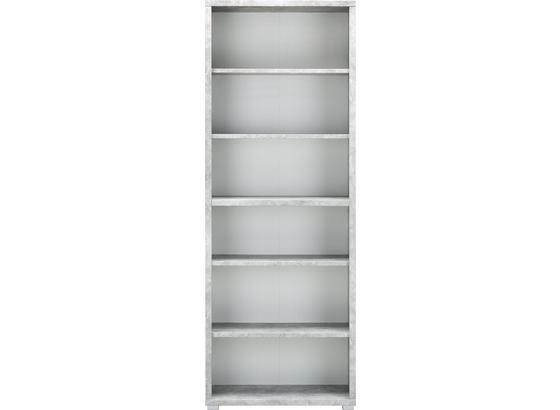 Regál Line4 - šedá/bílá, Moderní, kompozitní dřevo (80/218/36cm)