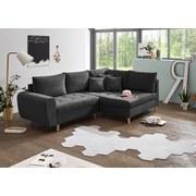 Ecksofa mit Holzfüßen Alice, Webstoff - Anthrazit/Kieferfarben, KONVENTIONELL, Holzwerkstoff/Textil (249/175cm) - Carryhome