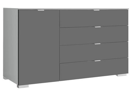 Kommode mit Soft-Close 120cm Includo Vulkan, Saphir - Alufarben, Natur, Holzwerkstoff (120/77/40cm) - MID.YOU
