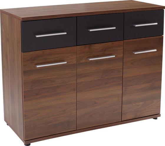 Komoda Dandy - čierna/farby orechu, Moderný, drevený materiál (135/90/40cm) - Ombra