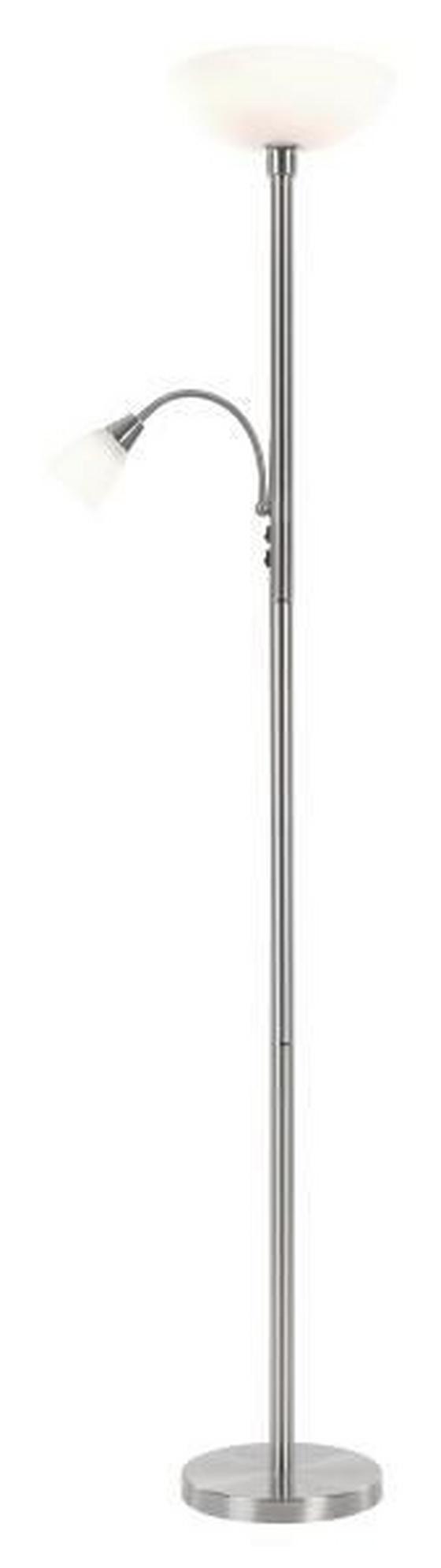 Stehleuchte Hannes - Weiß, KONVENTIONELL, Glas/Metall (30/180cm) - Ombra