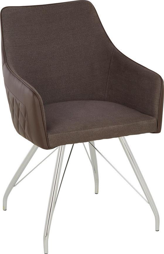 Židle Kirsten - šedá/barvy chromu, Moderní, kov/textil (54/85,5/64cm) - Modern Living