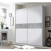 Schwebetürenschrank 170cm Starter, Weiß/Beton - Weiß/Grau, MODERN, Holzwerkstoff (170/195/59cm) - Ti`me