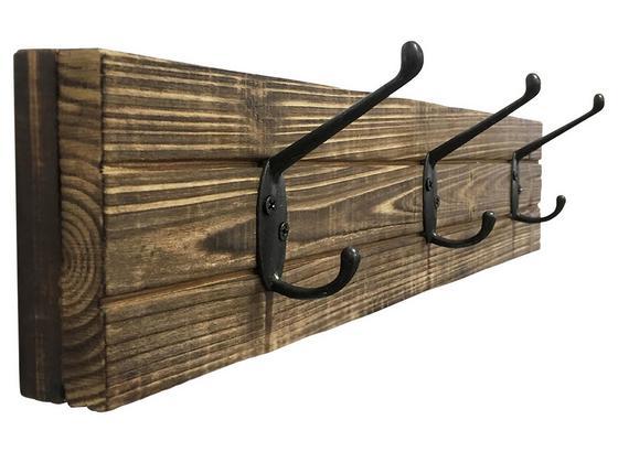 Lišta S Háčikmi Elli 1 B992038 - čierna/tmavohnedá, Moderný, kov/drevo (45/10/9cm)