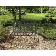 Gartenbank Metall 2-Sitzer Mangan mit Verzierung - Schwarz, Basics, Metall (106/91/57cm)