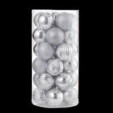 Christbaumkugel-Set 30-teilig D: ca. 6cm - Silberfarben, KONVENTIONELL, Kunststoff - Ombra
