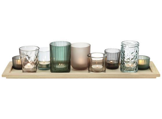 Stojan Na Čajové Svíčky Sandy - šedá/zelená, dřevo/sklo (50/14/11cm) - Mömax modern living
