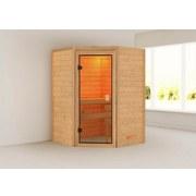 Sauna Bordeaux mit Interner Steuerung Am Ofen - Naturfarben, MODERN, Holz (146/198/146cm) - Karibu