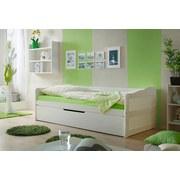 Bett Ausziehbar Echtholz 90x200 Marianne, Weiß - Weiß, Natur, Holz (90/200cm) - Livetastic