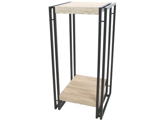Sloup Na Květiny Scott 3 - černá/barvy dubu, Moderní, kov/kompozitní dřevo (30/70/30cm) - Ombra