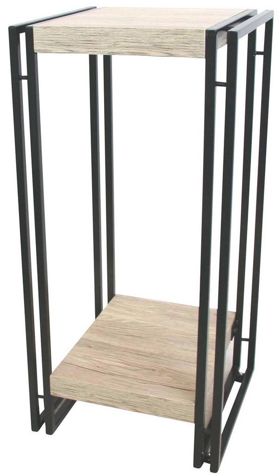 Stojan Na Kvetiny Scott 3 - farby dubu/čierna, Moderný, kov/kompozitné drevo (30/70/30cm) - Ombra