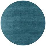 Hochflorteppich Nobel 120 Rund - Türkis, MODERN, Textil (120cm)