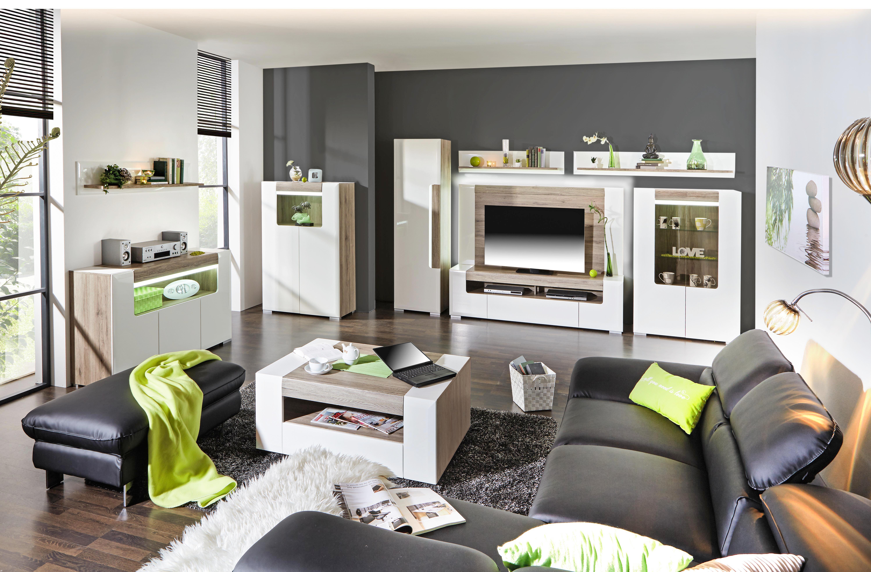 Tv - Rátét Toronto - tölgy színű/fehér, modern, faanyagok (190/93/4,4cm) - OMBRA