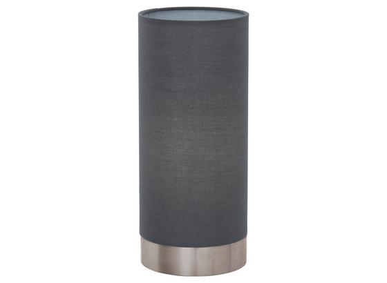 Tischleuchte Pasteri - Grau/Nickelfarben, MODERN, Textil/Metall (12/25,5cm)