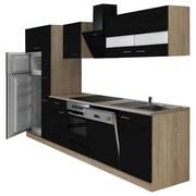 Küchenblock Economy 310 cm Eiche/Schwarz - Eichefarben/Schwarz, KONVENTIONELL, Holzwerkstoff (310/200/60cm) - MID.YOU