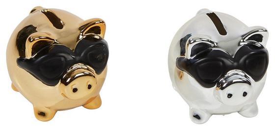 Spardose Glänzend - Silberfarben/Goldfarben, MODERN, Keramik (8,4/6,5/7,2cm)