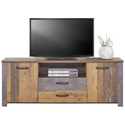 TV-Element Ontario - Dunkelgrau/Eichefarben, Trend, Holzwerkstoff (176/67,7/41,5cm) - Ombra