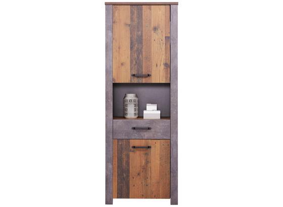 Schrank Ontario - Dunkelgrau/Eichefarben, Trend, Holzwerkstoff (71,4/200/41,5cm) - Ombra