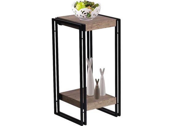 Sloup Na Květiny Scott 4 - černá/barvy dubu, Moderní, kov/kompozitní dřevo (30/55/30cm) - Ombra