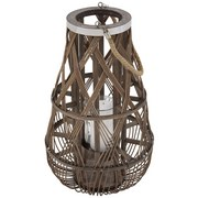 Laterne Callie - Braun, Trend, Glas/Naturmaterialien (30/50cm) - Luca Bessoni