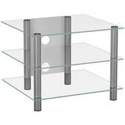 TV-Regal Sindas B: 60 cm Silber, Glas - Klar/Silberfarben, KONVENTIONELL, Glas/Metall (60/45/42cm) - MID.YOU