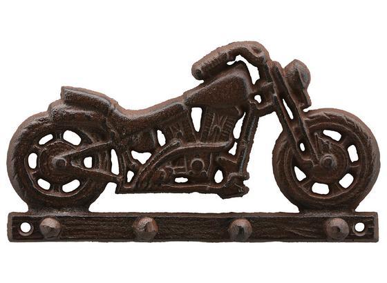 Lišta S Háčky Motorbike -sb- - hnědá, kov (20/11/4cm) - Modern Living