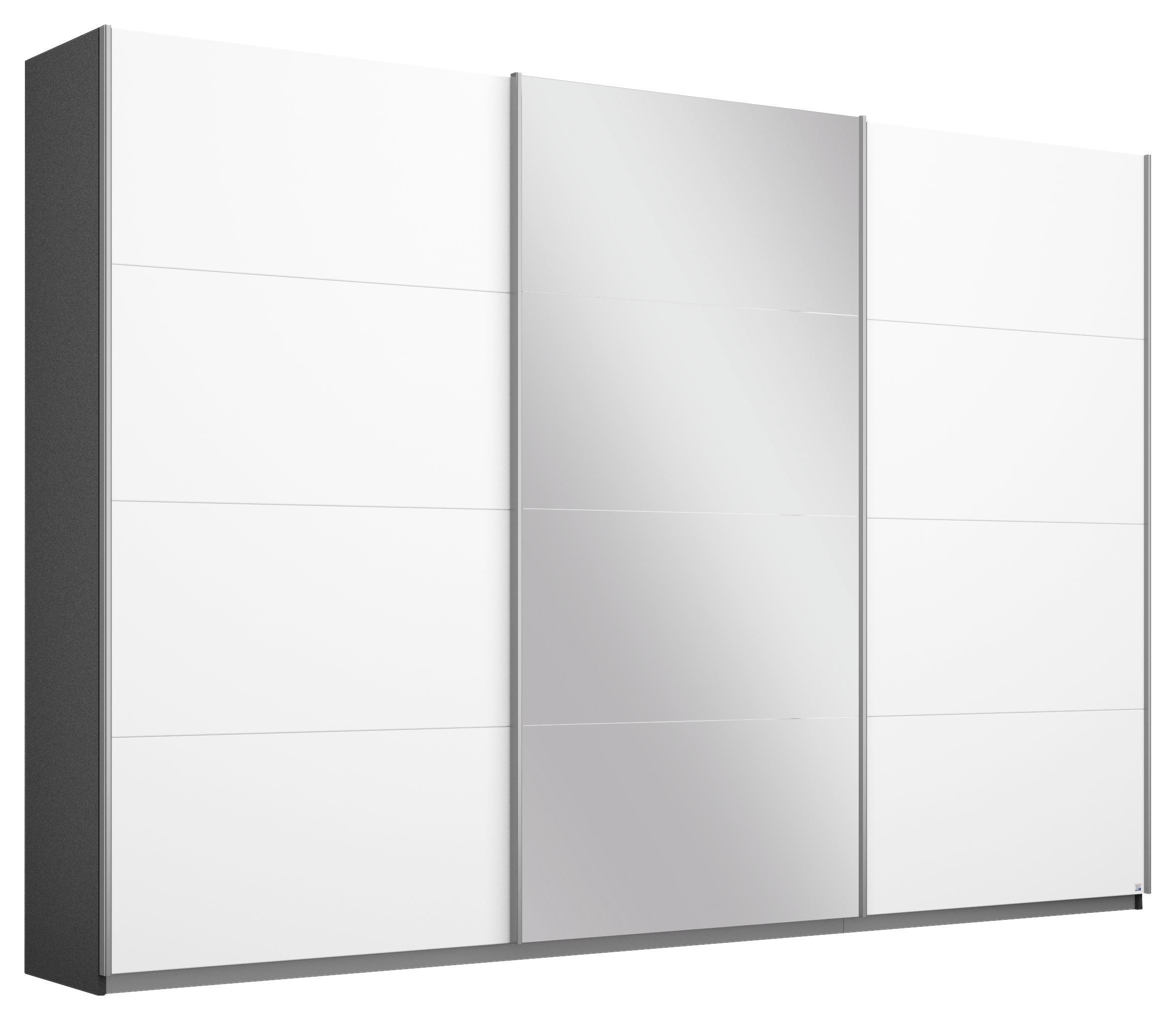 Schwebetürenschrank Belluno Weiß Grau Metallic