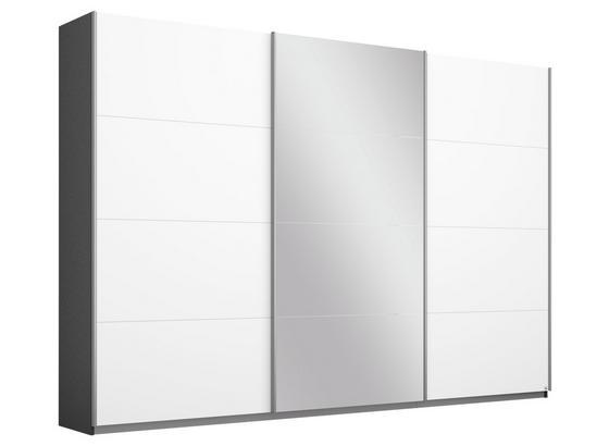 Schwebetürenschrank mit Spiegel 271cm Belluno, Weiß Dekor - Dunkelgrau/Weiß, MODERN, Holzwerkstoff (271/210/62cm)