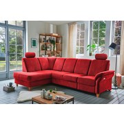 Wohnlandschaft in L-Form Bavello Rot - Eichefarben/Rot, KONVENTIONELL, Textil (186/274cm) - Livetastic
