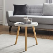 Príručný Stolík Dilara - prírodné farby/biela, Moderný, drevený materiál/drevo (40/40/40cm) - Modern Living