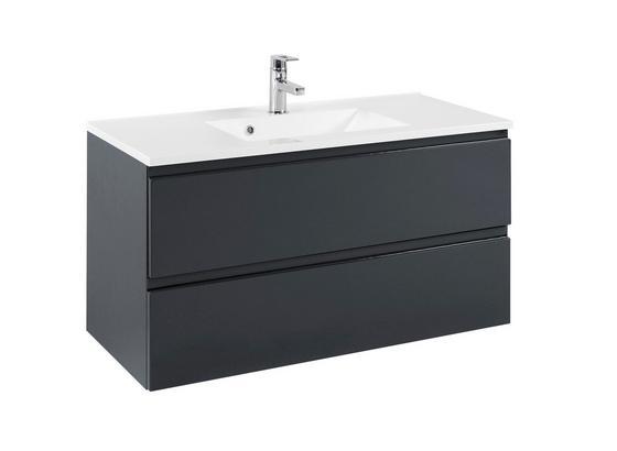 Waschtisch mit Soft-Close Cardiff B: 100 cm, Graphit - Graphitfarben/Weiß, Design, Holzwerkstoff/Stein (100/56/47cm)