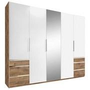 Drehtürenschrank mit Spiegel + Laden 250cm Level 36a, Weiß - Eichefarben/Weiß, MODERN, Glas/Holzwerkstoff (250/216/58cm) - MID.YOU
