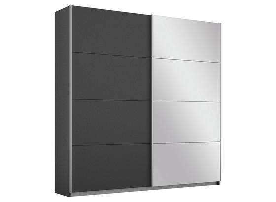 Schwebetürenschrank Belluno B:181cm Grau Dekor/ Spiegel - Dunkelgrau, MODERN, Holzwerkstoff (181/210/62cm)