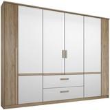 Drehtürenschrank mit Schubladen 226cm Bernau, Eichendekor - Eichefarben/Weiß, MODERN, Holzwerkstoff (226/212/56cm)
