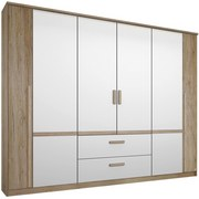 Skříň Bernau 226 - bílá/barvy dubu, Moderní, dřevěný materiál (226/212/56cm)