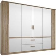 Skriňa Bernau 226 - farby dubu/biela, Moderný, drevený materiál (226/212/56cm)