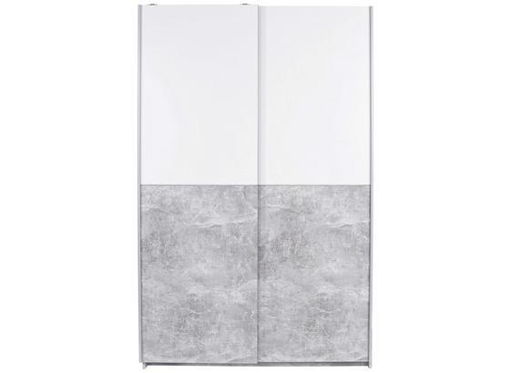 Schwebetürenschrank 125cm Victoria, Weiß/ Grau Dekor - Weiß/Grau, MODERN, Holzwerkstoff (125/196/62cm)