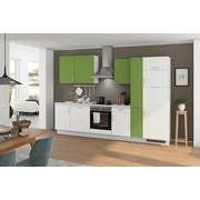 Küchenblock Turin 310 cm Weiß/Kiwi - Weiß/Grau, LIFESTYLE, Holzwerkstoff (310cm) - Qcina