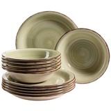 Tafelservice 12-Tlg Lumaca - Grün, Basics, Keramik