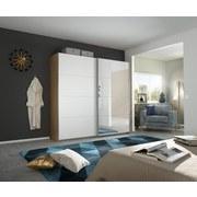 Schwebetürenschrank mit Spiegel 226cm Belluno, Weiß Dekor - Weiß/Sonoma Eiche, MODERN, Holzwerkstoff (226/230/62cm)