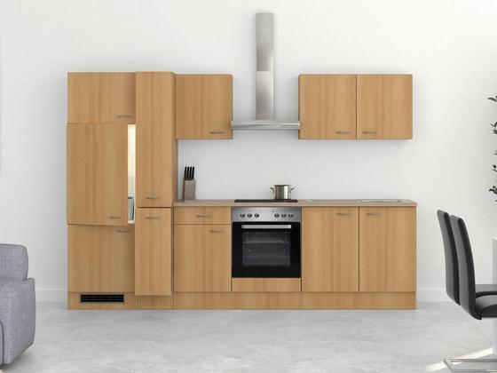 Küchenblock Nano 300cm Buche - Edelstahlfarben/Buchefarben, MODERN, Holzwerkstoff (300/60cm)