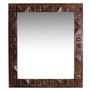 Spiegel Leon B: 68 cm Recyclingholz - Braun/Bronzefarben, Basics, Glas/Holz (68/79/2cm)