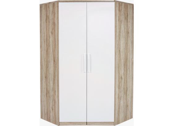 Rohová Skriňa Wien - farby dubu/biela, Konvenčný, kompozitné drevo (117/212cm)