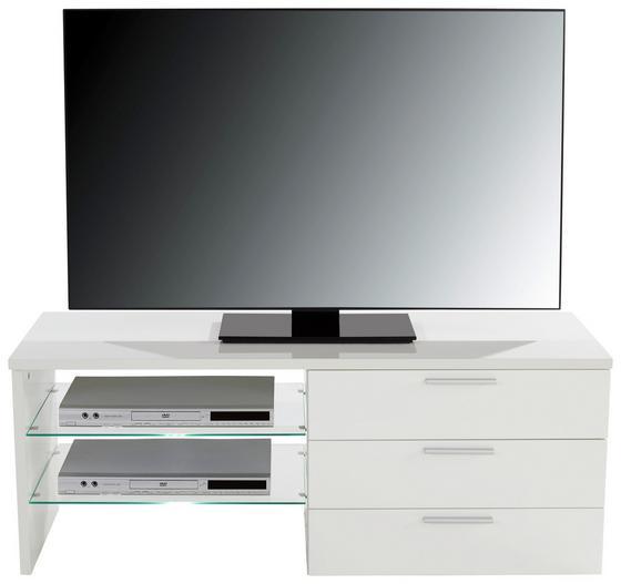 Tv Stolík Merlin Ii - biela, Moderný, kompozitné drevo (118,4/47/39,6cm)